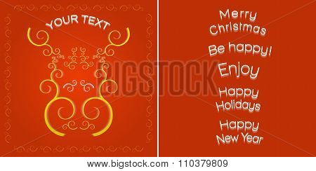 Greeting card template, elk muzzle and  different congratulation