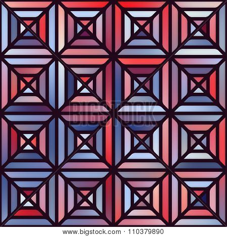 Vector Seamless Gradient Mesh Square Blocks Pavement In Shades Of Blue And Red With Black Outline
