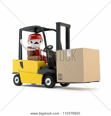 Forklift driver with the cargo.