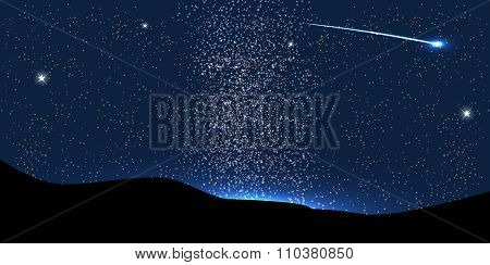 Comet Fly Around the Planet in Space. Vector Illustration.
