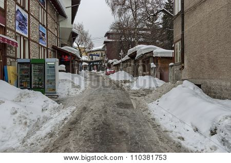 Streets at winter in Bansko town
