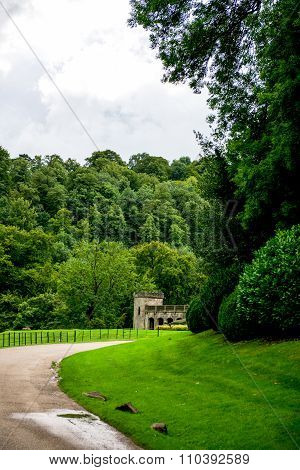 Green Meadows And Trees In Beautiful Ilam Hall  In Peak District National Park