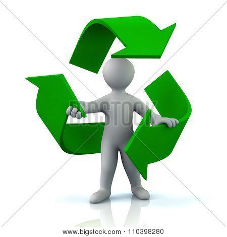 Man Inside Green Recycle Arrows