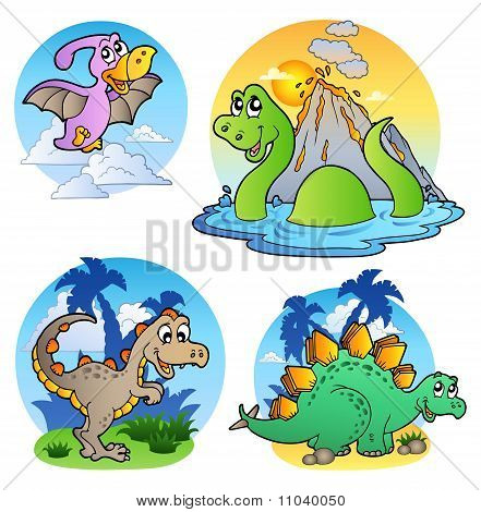 Four various cute dinosaur images 1 - vector illustration. poster