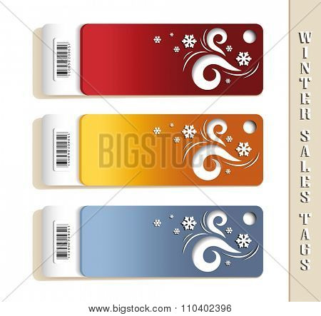 Winter Sales Tags with Snowflakes