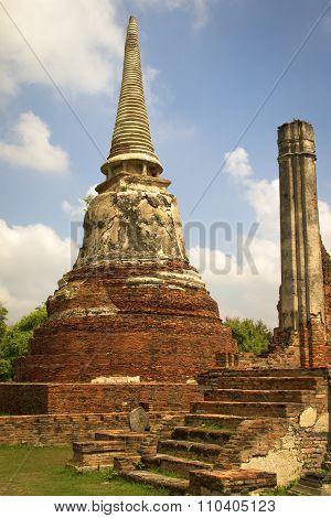 Ancient brick stupa in Ayutthaya, Thailand