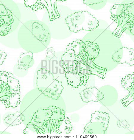 Vector Seamless Pattern With Broccoli