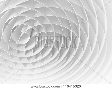 White Intersected 3D Spirals, Abstract Digital Illustration