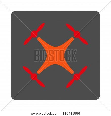 Drone vector icon. Style is flat rounded square silver button with red symbol, white background. poster