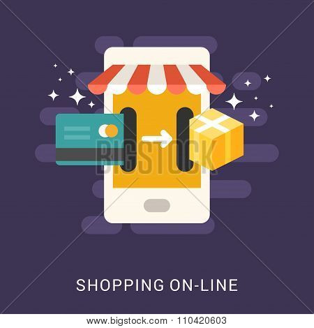 Flat Design Concept For Web Banners. Shopping On-line. Smartphone With Card And Box