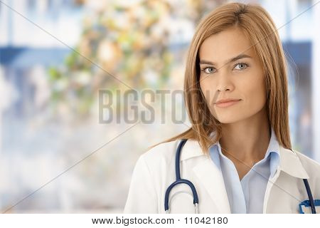 Portrait Of Attractive Female Doctor In Hospital