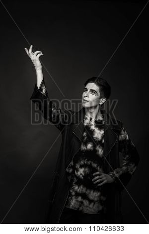 Black and white portrait photo young actor