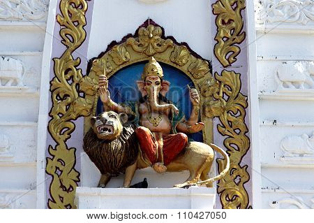 Ganesha Mounted On Lion