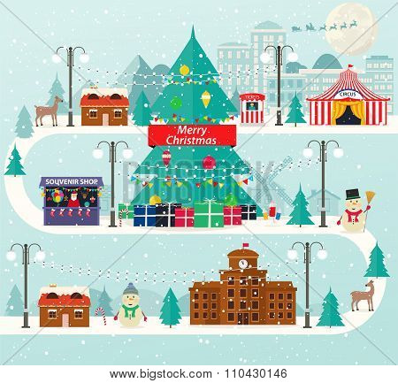 Christmas urban and rural landscape in flat design. City winter