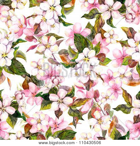 Seamless repeated vintage floral pattern - pink cherry sakura and apple flowers. Retro watercolor