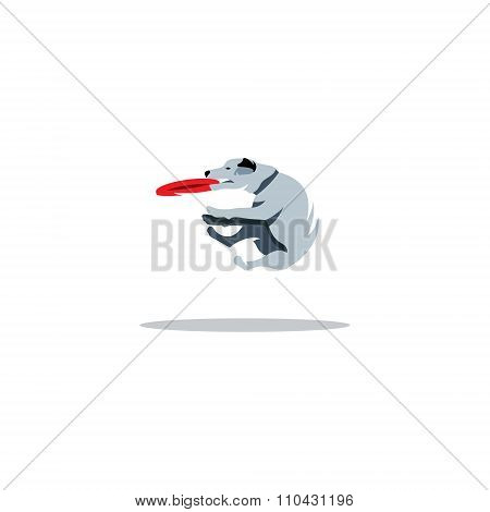 Dog Frisbee. Vector Illustration.