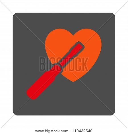Heart Tuning vector icon. Style is flat rounded square silver button with red symbol, white background. poster