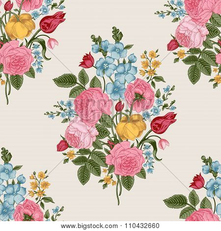 Seamless vector pattern with Victorian bouquet of colorful flowers on a gray background.