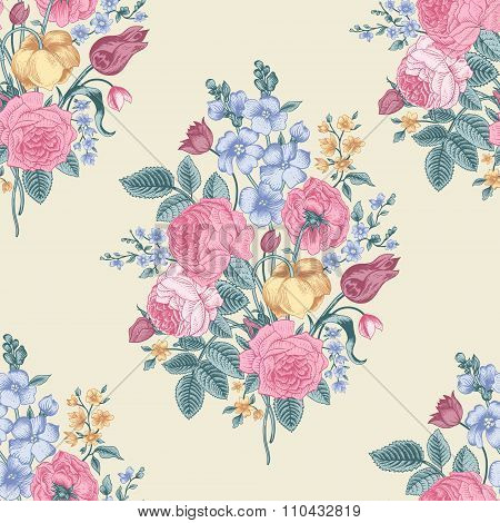 Seamless vector vintage pattern with Victorian bouquet of colorful flowers on a yellow background.