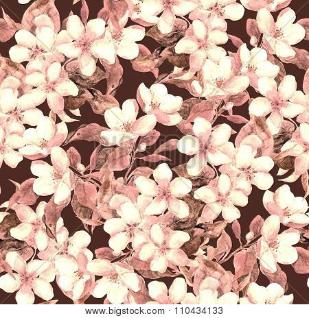 Retro floral design. Apple or cherry flowers. Seamless watercolor pattern in brown sepia color