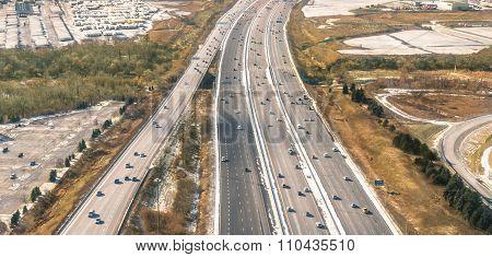 Multiple Lane Highway - Freeway Aerial View