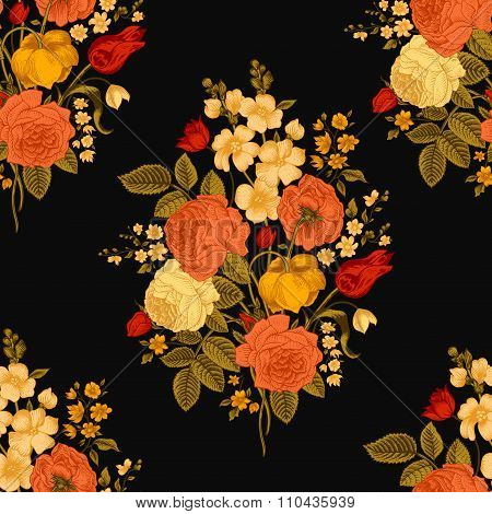 Seamless vector vintage pattern with Victorian bouquet of colorful flowers on a black background.