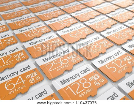 Group of memory micro sd cards on white background. Storage and mobility transfer concept poster