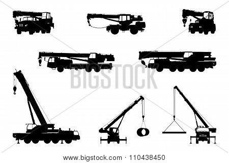 Set Crane Silhouette on a white background.