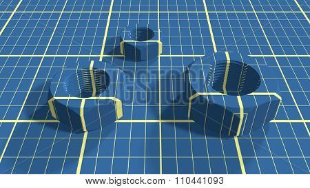 Nuts on blueprint paper plan textured background