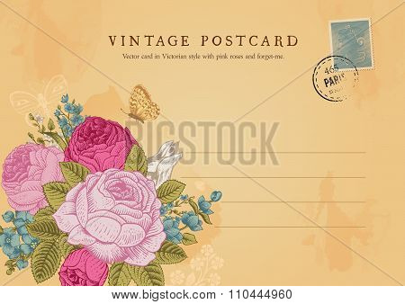 Vector vintage postcard in Victorian style.