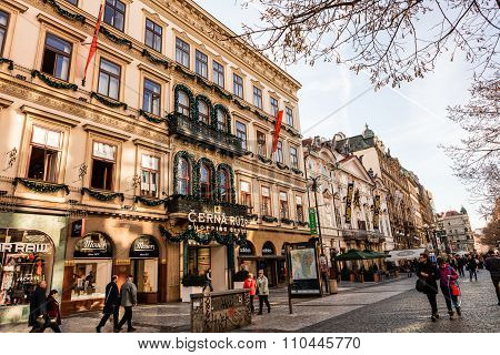 Na Prikope street in central Prague.