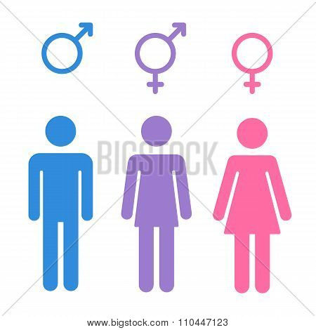 Set of gender symbols with stylized silhouettes: male female and unisex or transgender. Isolated vector illustration. poster