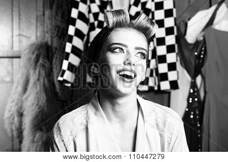 Woman With Hair-curlers