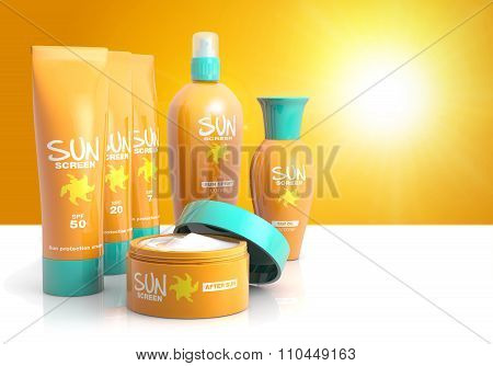 set of sun lotions