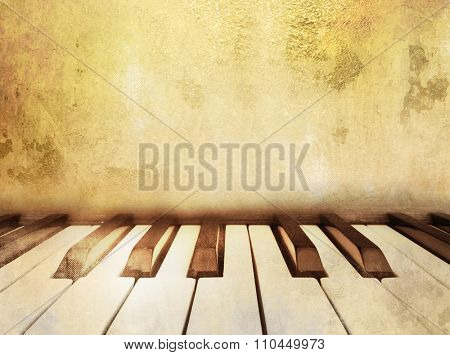 Vintage music background with piano keys