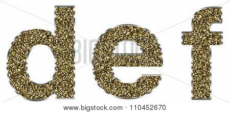 Lowercase def letters made of gold and silver frame