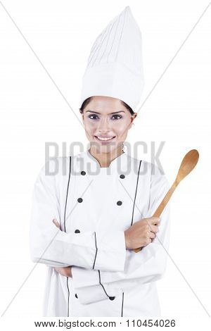 Indian Female Chef Holding Wooden Spoon