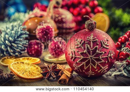 Christmas candle and decoration. Christmas border design on the wooden background. Christmas fir tre