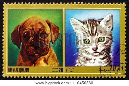 Postage Stamp Umm Al-quwain 1972 Puppy And Kitty