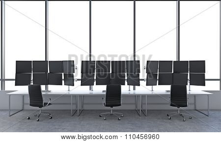 Office With 24 Black Monitors, Processing Data, Trading, New York