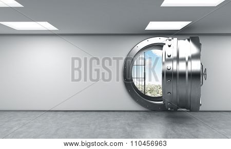3D rendering of a big open round metal safe in a bank depository with blue sky inside front view a concept of opportunity and American dream poster