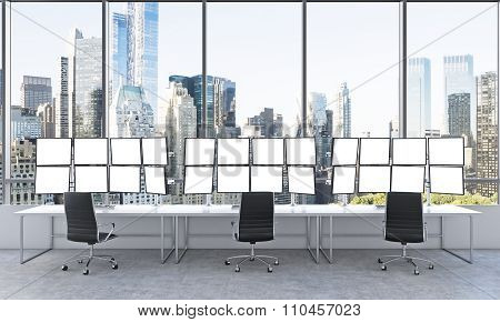 Office With 24 White Monitors, Processing Data, Trading, New York