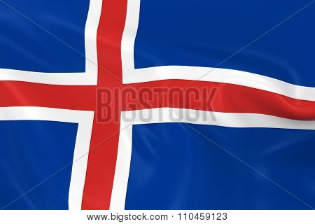 Waving Flag Of Iceland - 3D Render Of The Icelandic Flag With Silky Texture