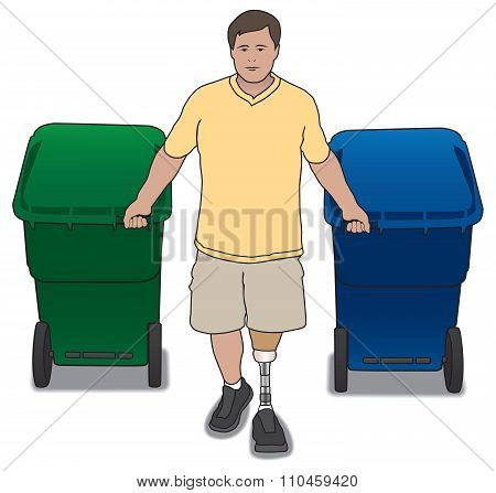 Amputee With Trash Cans