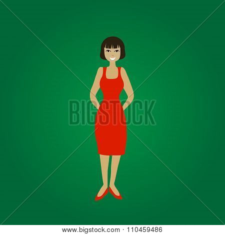 Vector smiling standing young woman in red dress on green background