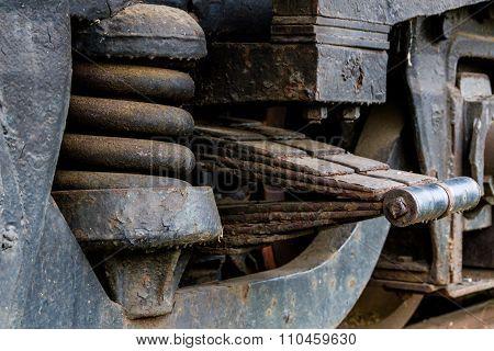 Close Up Of Old Diesel Locomotive Suspension