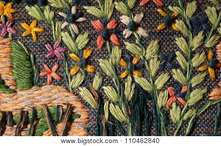 Closeup Of Hand Woven Floral Tapestry