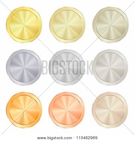 Empty Blank Set  Vector Templates For Coin, Price Tags, Sewing Buttons, Buttons, Icons Or Medals Wit
