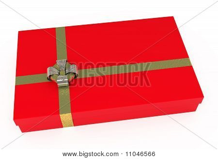 Red Gift Box, With Golden Ribbons, Isolated On White