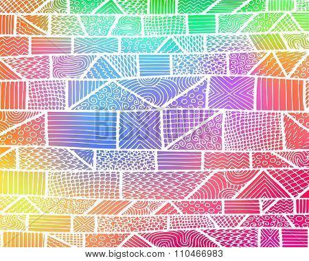 Zentangle Lines Rainbow Background 1